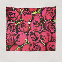 Red Roses Retro Tapestry 5 Foot x 6 Foot and Larger Sizes Rose Tapestry  Rose Wall Hanging Art  Red Roses Pixels
