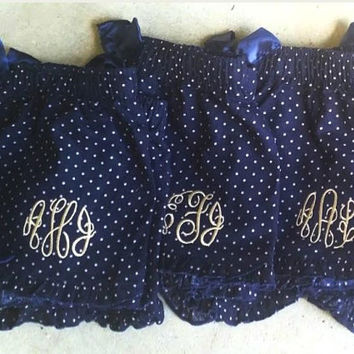 Adult Preppy Monogrammed Pajama Shorts with ruffle available in 4 colors. Great gifts- Bridesmaids