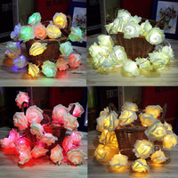 Romantic Fairy Wedding Party Christmas Decoration 20LED Garland Rose Flower String Lights Fashion Holiday Lighting Outdoor Decor