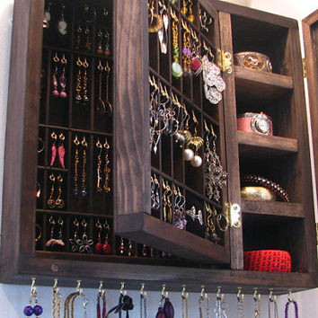 Jewelry Organizer with glass doors and two layers of storage - RTS