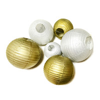 """Wedding Decoration Paper Lantern 8"""",10"""",12"""", or 14 Inch Gold or Silver"""