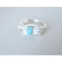 Pacific White Opal Czech - Swarovski Crystal Argentium Silver Wrapped Ring - Size 6