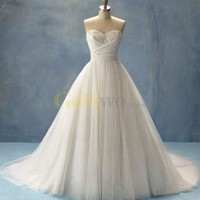 Ball Gown Sweetheart Strapless Cinderella Tulle Lace Wedding Dress