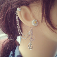 Hippie Styled Ear Cuff - Earring Stud, Silver plated, Chain - No cartilage piercing needed!