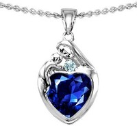 Original Star K(tm) Loving Mother With Child Family Pendant With 8mm Heart Shape Created Sapphire