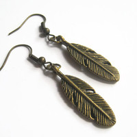 Feather Earrings, BRONZE, Native American Earrings, Personalized Birthstone Earrings, Southwestern Rustic Earrings, READY To SHIP