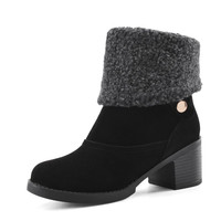 Warm Fur Round Toe Ankle Boots Square Heel Snow Boots 8149