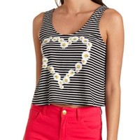 Bow-Back Daisy Chain Striped Crop Top - Black Combo