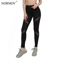 NORMOV S-XL Women Adventure Time Mesh Leggings Push Up Workout Leggins Large Size Breathable Slim Black Leggings Women