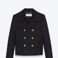 Saint Laurent Double Breasted Caban Jacket In Navy Blue   YSL.com