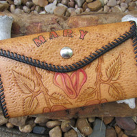 "70s Tooled Western Wallet ""Mary"" // Vintage Cowgirl Clutch // Western Rose Purse"