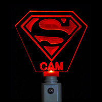 Superman Night Light, Colored LED Personalized and  Custom with name engraved on it