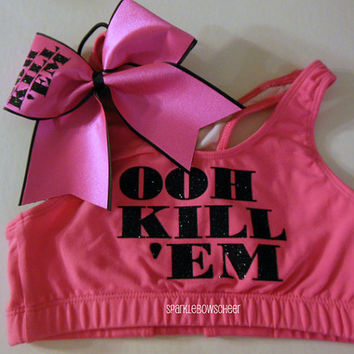 OOH KILL EM Cotton Sports Bra and Bow Set Cheerleading