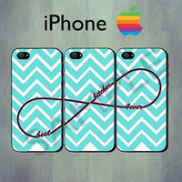 Best Bitches Forever Infinity Blue Chevron iPhone case - iPhone 4 case or iPhone 5 case - iPhone Case, Three Case Set