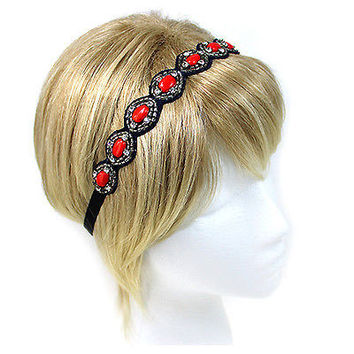Red And Black HAND MADE MULTI BEAD AND STONE ACCENT STRETCH HAIR BAND
