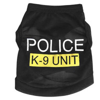 Hot Small Dog Cat Puppy Police Printed Black T-Shirt Pet Dogs Coat Clothes XS-L