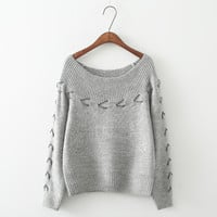 Off-Shoulder Drawstring Knitted Sweater