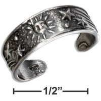 STERLING SILVER ANTIQUED SUN AND STARS TOE RING