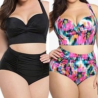 Plus Size high waist women bikini suit 2 piece suit Large size Flower print Beach Bikini Set Padded chest Top swim pool wear