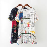 Women's Summer Casual Chiffon Mini Dress Round Neckline Short Sleeve Cartoon Print Dress