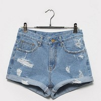 Denim shorts - Jagged - Shorts - Pants & Shorts - Women - Modekungen - Fashion Online | Clothing, Shoes & Accessories