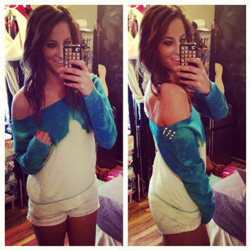Studded Dip Dyed Ombré Turquoise Off the Shoulder Sweatshirt