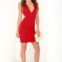 Like This and Like That Red Bodycon Dress