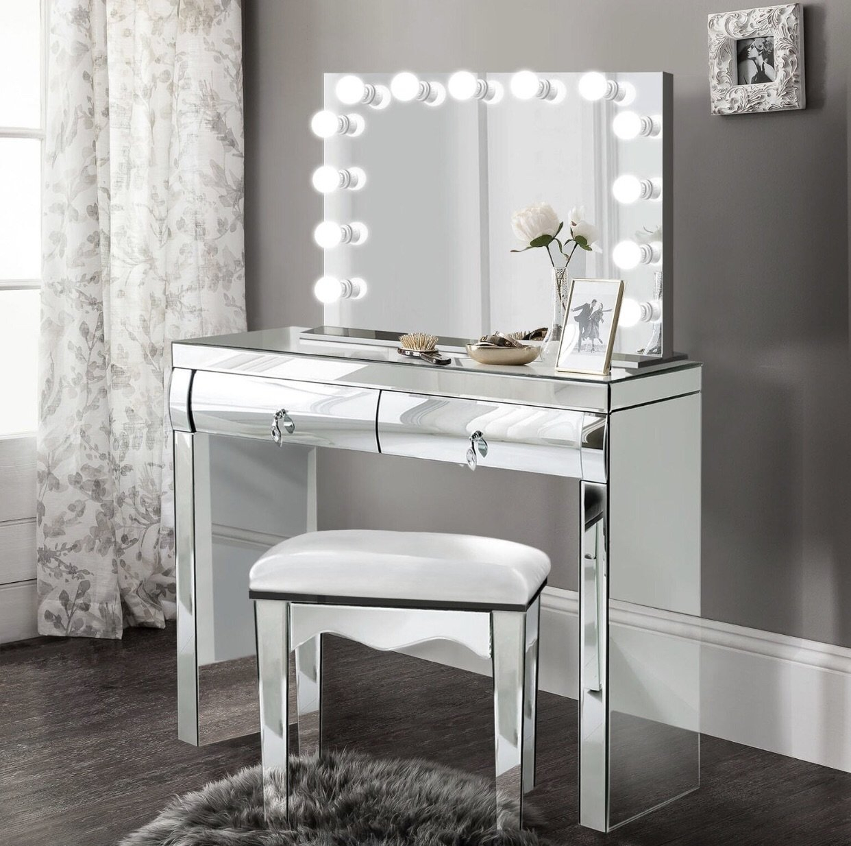 Image of Complete set - Mirrored Dimmable Hollywood Makeup Mirror LED + Built-in Outlets, chair and Vanity christmas gift, gift for girlfriend, gift