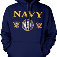 United States Navy Mens Sweatshirt, Bald Eagle With Anchor Naval Shield Pullover Hoodie, X-Large, Black