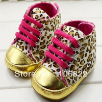 Baby Girls Pink Leopard and Gold Shoes