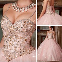 Custom Made New Quinceanera Dress 2020 New Pink Crystal Ball Gown Dresses For 15 16 Years Prom Party Dress