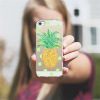Pineapple and Greenie Dots - Transparent/Clear background iPhone 5s case by Lisa Argyropoulos   Casetagram