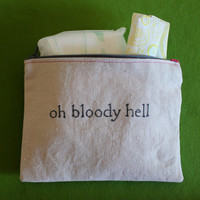 """Indiscreet """"oh bloody hell"""" Zip Pouch for Tampons, Menstrual Pads, Feminine Products"""