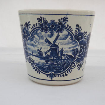Delft Blauw Handpainted Cobalt  Blue and White Porcelain Pottery Planter - Windmill Holland Scene - Collectible Plant Pot or Vase