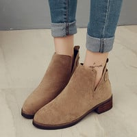 Hot Deal On Sale Matte Autumn England Style With Heel Round-toe Zippers Boots [9013549060]