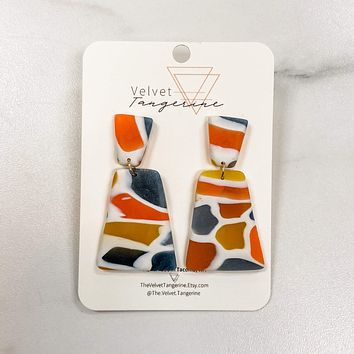 Stained Glass Mod Bells Polymer Clay Earrings