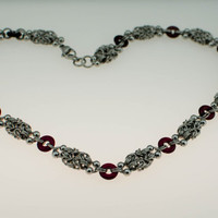 Delicate Stainless Steel Necklace with Garnet Accents - Ready To Ship