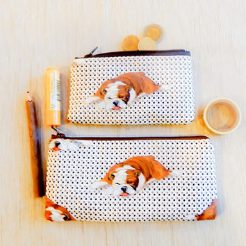 Make Up Bag/ Bulldog Gift for Her/ Gift for Dog Lover/ Gift for Mom/ Valentine Day Gift/ Gift for Wife/ BFF Gift/ Coworker Gift/ Pencil case