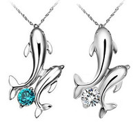 Cute Silver Plated Double Dolphins Pendant Charm Chain Necklace Jewelry  6Y92