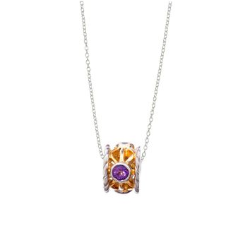 February Amethyst Sterling Silver with 14k Gold Vermeil Bead Necklace