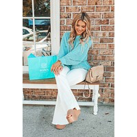 RESTOCK: Summer Breeze Sweater: Pale Turquoise