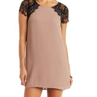 Taupe Combo Lace & Chiffon Shift Dress by Charlotte Russe