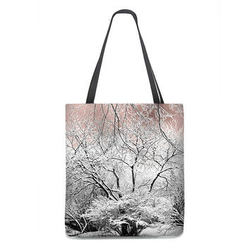 Snow Laced Trees Tote Bag with pink blush sky