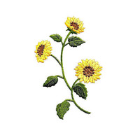 """Sunflower - Sunflower Group - Garden - Spring - Flowers - Embroidered Iron On Applique Patch - 7 3/8""""H"""