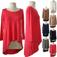 Sexy Round Neck Hi-Low Asymmetrical Hem Long Sleeve Tunic Shirt Top