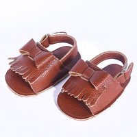 Tribal Bow- Leather Fringe Baby Sandals