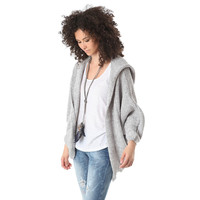 Gray knit cardigan in fleck yarn with hooded neck