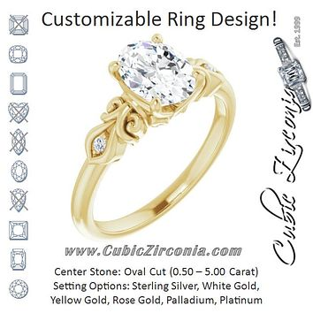 Cubic Zirconia Engagement Ring- The Natsumi (Customizable 3-stone Oval Cut Design with Small Round Accents and Filigree)