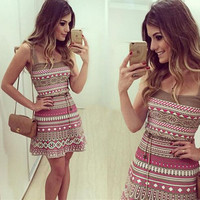 Brown and Pink Printed Sleeveless Dress with Belt