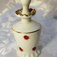 Vintage Perfume Bottle -  Lady Bugs - Japan - Old Bottle with Stopper